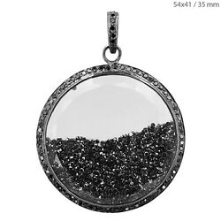 Black 8.88ct Diamond Sterling Silver Shaker Pendant Antique Inspired Jewelry By