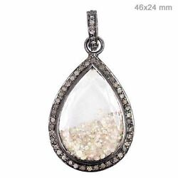 Sterling Silver Pave Diamond Pear Shaker Pendant Crystal Antique Look Jewelry Oy