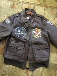 A2 Jacket Horse Hide Avirex 75th Fg Fyling Tigers Blood Chit 42l Bomber 23 Fg