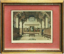 James Peller Malcolm  Middle Temple Hall 1800 Framed color tinted #60535