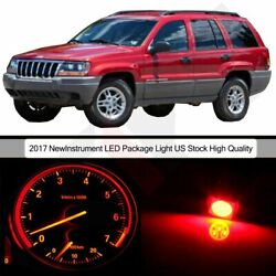 Red LED Package Kit Gauge Cluster Light Bulbs For 2002-2004 Jeep Grand Cherokee