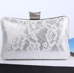 Evening Clutches Hard Shell Dinner Lace Bags for Women White Black $22.16