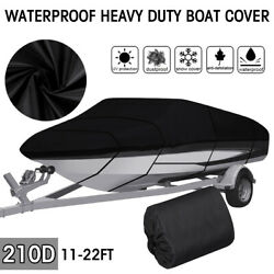 Waterproof Heavy Duty Boat Cover Fit V-hull Tri-hull Runabout Boat 11 Ft-22 Ft