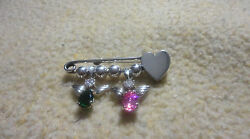 Vintage Taxco 925 Sterling Silver Diaper Pin Brooch With Two Angels And Beads