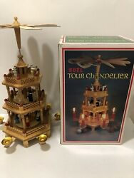 Christmas Pyramid Tower Nativity 3 Tier Wood Windmill Carousel Candle Holder