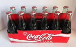 Coca Cola Christmas Repro Bottle 6-6.5 Oz Full W Coke Classic 12 Pack W Carrier
