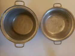 Century Silver Seal 2 Round 10 Hammered Aluminum Pot Pans 3 1/2 And 4 1/2 Deep