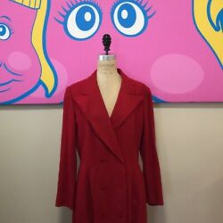 Lanvin Size 42 Red Wool Double Breasted Riding Coat