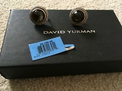 David Yurman 12mm Cerise Gold/sterling Silver With Citrine And Diamonds Earrings