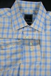 David Donahue Blue Orange Plaid Cotton Button Down Shirt 18 x 3637