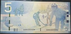Canada 2006 5 Banknotes - Radarand039s - 2 Matching Serial Numbers - 4000004 - Unc