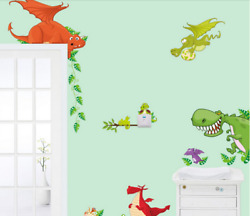 Wall Decal Cute Dinosaur Wall Stickers For Kids Rooms Removable Nursery Adhesive