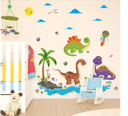 Wall Stickers Friendly Dinosaur For Kids Room Cartoon Animals Home Decor Bedroom $14.90