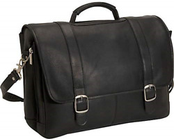 David King & Co. Porthole Laptop Briefcase Black Leather - Brand New Sealed.
