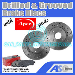 Drilled And Grooved 4 Stud 260mm Vented Brake Discs Pair D_g_2387 With Apec Pads