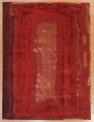 Red Nepalese Hand Knotted Modern Carpet, Brand New Size 6.1 X 8.1 Wool And Silk