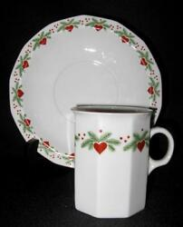 Rare Porsgrund Norway Hearts And Pines Multi-sided Flat Coffee Cup And Saucer Set