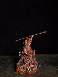 5.4 Chinese Antiques Boxwood Hand-carved Guan Gong Dance Knife Statue