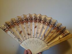 Antique circa 1865 fan silk victorian beaded carved fabulous History Rare