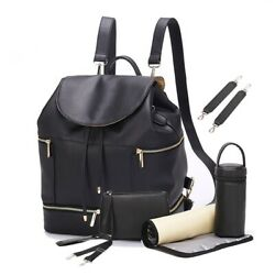 PU Diaper Bag Backpack Leather Nappy Organizer Chaning Pad Bottle Warmer MomBaby $24.99