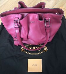 NEW Authentic TOD's Medium Leather Flower Handbag with Cheerful Rose Pink