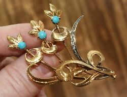 18k Gold Turquoise Diamond Floral Pin Brooch Ugo Bellini Florence Italy