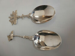 Sterling Silver Apostle Style Spoons With Sailing Ships By Boaz Moses Landeck