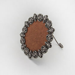 Ornate Repousse Oval Small Picture Frame Sterling Silver