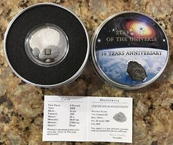 Cook Islands Pultusk Meteorite 2008 5 Silver Coin With Partial Palladium Plate