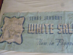 Vintage Sears Dept Store Banner January White Sales Rare 1950s-1960s 35 X 75 Ad