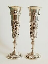 Early 19c Rare Pair Russian Silver Flutes Cups 19 Cm High