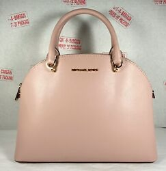 Michael Kors Emmy Large Dome Leather Satchel Purse Blossom Pink $99.98