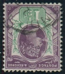 Sg 198wi 1andfrac12d Dull Purple And Green Inverted Watermark. A Fine Used Example