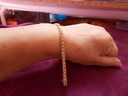 a 5 CT BIGger DIAMOND BEAUTIFUL 9 CT Y GOLD BRACELET USE ONCE 7 INCHES HALL MARK