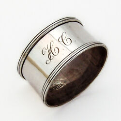 Webster Napkin Ring Applied Borders Sterling Silver Mono