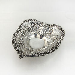 Openwork Repousse Heart Bowl Gorham Sterling Silver 1949
