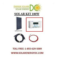 Solar Panel Kit Panneau Solaire 100 Watt 100w 30a Poly Lcd Charger Cable Rv