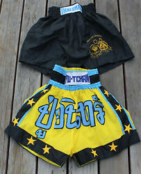 2 Thaisma Inosanto Academy Thai Boxing Martial Arts Shorts Black Yellow Xl And 3l