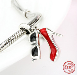 100 925 Sterling Silver High Heel Shoes And Glasses Beads Charm Pandora