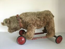 Vintage Stuffed Bear On Red Wheels Riding Antique Circa 1930 Pull Toy Glass Eyes