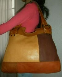 Lucky Brand Multi Color Leather Patches Hobo Shoulder Bag Tote Purse Euc Beauty