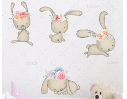 Cute Cartoon Animals Rabbit Color Wall Stickers For Kids Rooms Children Nursery