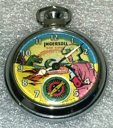 Dan Dare 1950and039s Ingersoll Pocket Watch With Eagle Engraved On Back Animated