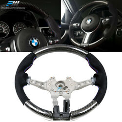 Fits 12-21 Bmw F80 F82 M Sport Steering Wheel Cf And Alcantara Cover And M Stitching