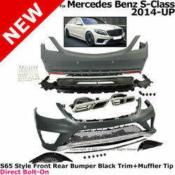 For 14-17 Mb S-class S63 Amg   Steel Exhaust Tip Black Style Front Rear Body Kit