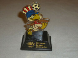 Vintage 1984 Los Angeles Ilympic Soccer Champion Trophy Sam The Eagle Applause
