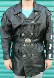 Kiehls Leather Trench Jacket Coat Sterling Silver Buttons Belt Buckle Motorcycle