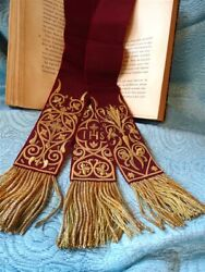 3 Bordeaux Silk Bookmarks Embroidery Xixth Century For Books And Grimoire