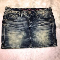 Guess So Very Sexy Jeans Denim Mini Skirt Womens Size 24 Stretch