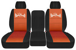 Front Truck Seat Covers Blk-burnt Orange W/mountain Fits Dodge Ram11-2018 1500